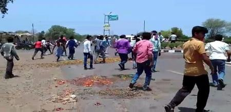 Police firing during farmers protest